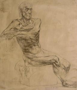 Е.В.Малых. Обнаженная фигура. Факультет живописи. V курс. Бумага, перо, тушь. 38х45 см. Руководитель А.Л.Королев. 1986